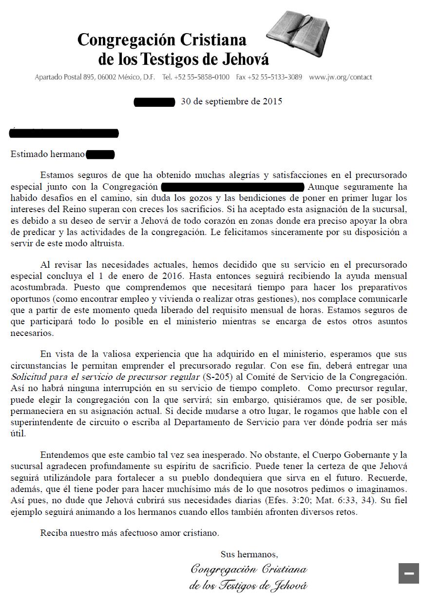 carta de despidos